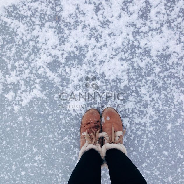 Pies femeninos en botas sobre hielo -  image #347323 gratis