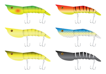 Shrimp Fishing Lure Vectors - vector gratuit #347363