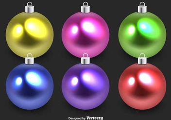 Colorful glass christmas spheres - Free vector #347603