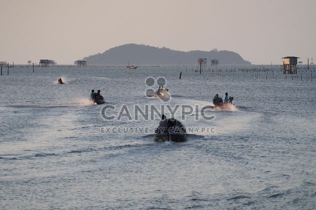 Fishermen in boats on sea in morning - Free image #347713