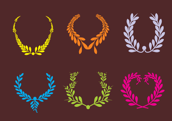 Colorful Olive Wreath Vectors - Free vector #348103
