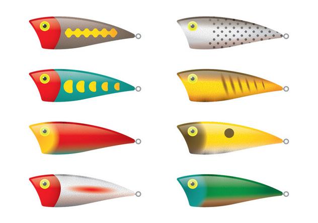 Salt Water Fishing Lure Vectors - vector gratuit #348253