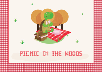 Free Picnic Illustration with Cute Tortoise Character - Free vector #349133