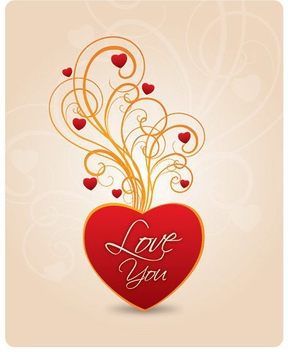 Love You Heart Swirls - vector gratuit #349213