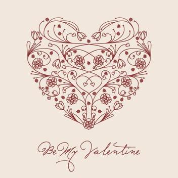 Floral Valentine Heart Design - Kostenloses vector #349393