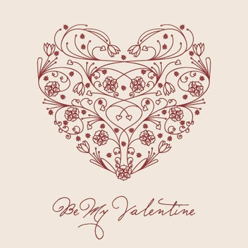 Floral Valentine Heart Design - vector gratuit #349393