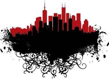 Cityscape Silhouette on Landscape Swirls - Free vector #349433