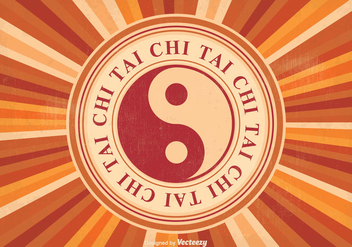 Retro Tai Chi Vector Illustration - Free vector #349703