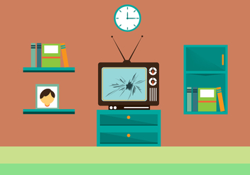 Free Cracked TV Screen Vector Ilustration - Free vector #349843