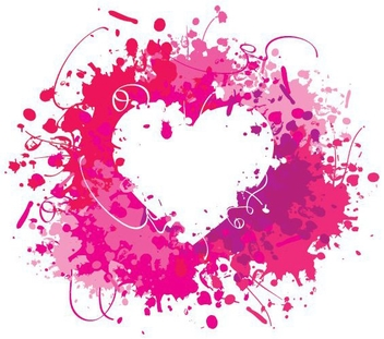 Water Color Splashed Valentine Heart - vector gratuit #349893