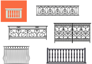 Types of Balcony Railing Vectors - Free vector #350143
