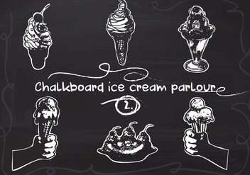 Free Hand Drawn Ice Cream set on Chalkboard Vector Background - Free vector #350153