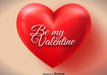 Big Red Valentine Heart Vector - Free vector #350883
