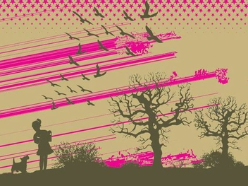 Girl Silhouette Evening Walk - Free vector #350983