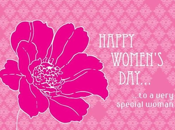 Pink Floral Women's Day Greeting - Kostenloses vector #351013