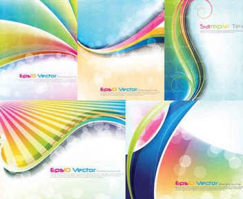 Rainbow Waves Bokeh Background Set - vector gratuit(e) #351163