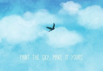Bird Watercolor Sky Background - vector gratuit(e) #351373