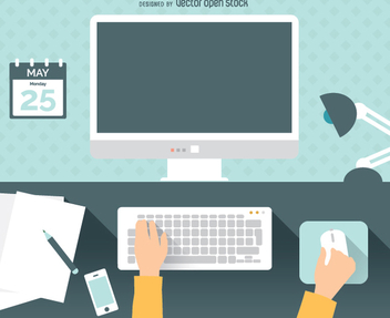 Computer flat workspace - Free vector #351593