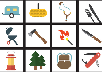 Vector Set of Camping Elements - vector #351853 gratis