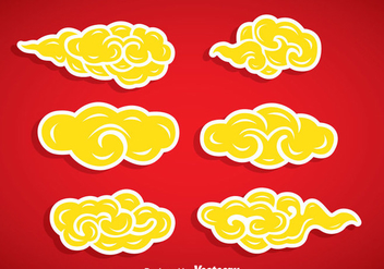 Yellow Chinese Clouds Vector Set - Kostenloses vector #351973