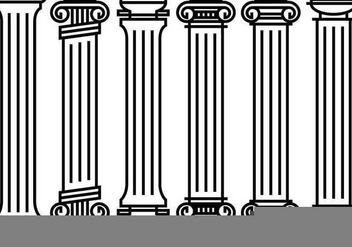 Decorative Roman Pillar Vectors - vector gratuit #352323