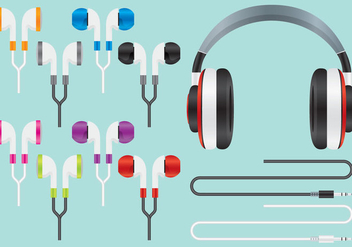 Audio Ear Buds Vectors - бесплатный vector #352513