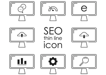 Thin Line SEO Icon Vectors - vector gratuit #352793