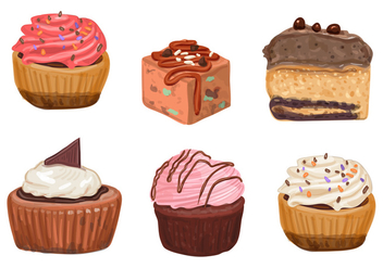 Cakes and Cupcake Vectors - vector #352863 gratis