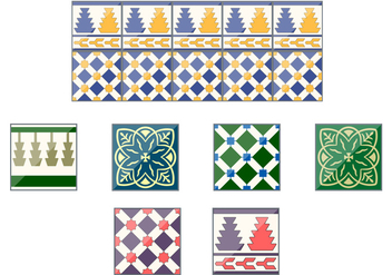 Spanish Talavera Ceramic Vector Tiles - Free vector #353223