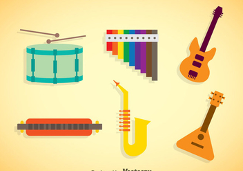 Music Instruments Colors Icons Vector - vector gratuit #353263