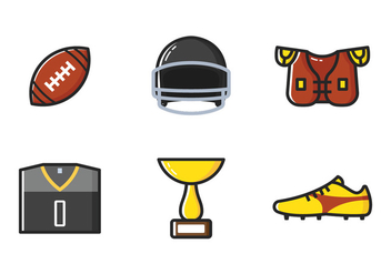 American Football Line Icon - vector gratuit #353653