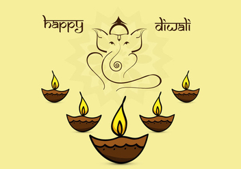 Beautiful Diwali Card With Diyas - Free vector #354403