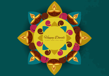 Rangoli With Circle And Oil Lit Lamps - Free vector #354483