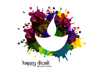 White Diya With Watercolor Splash - Free vector #354533