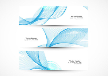 Set Of Banners With Blue Wave - vector gratuit(e) #354563