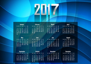 Glowing Blue Year 2017 Calendar - vector gratuit(e) #354593