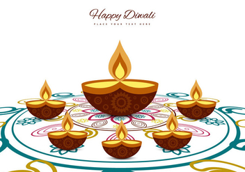 Greeting Card For Diwali Festival - vector gratuit(e) #354623