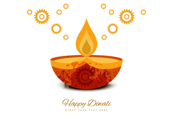Deepawali Decorative Greeting Card - Free vector #354873