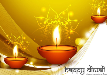Diwali Oil Lamps On Golden Background - Free vector #354993