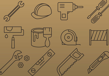 Thin Line Tools Icon Vectors - Free vector #355173