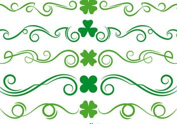 Green Clover Scrollwork Vector Set - Free vector #356143