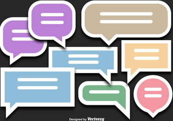 Colorful Speech Bubble Sticker Vectors - vector gratuit #356173