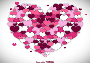 Vector Heart Background Made with Hearts - Free vector #356293