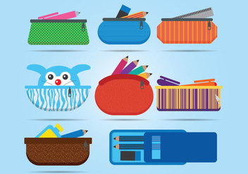 Pencil Case Vector - Free vector #356633