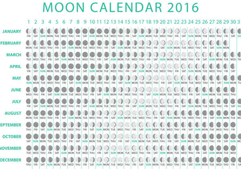 Moon Calendar 2016 Vector - Free vector #356763