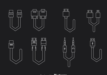 Cable Wire Connection Outline Icons - бесплатный vector #357143