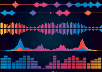 Colorful Sound Bars Icons Vector Sets - vector gratuit #357423