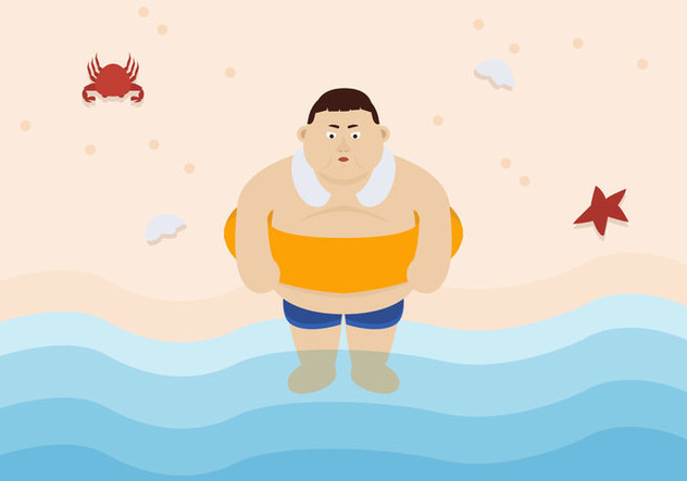 Vector Fat Guy at the Beach - бесплатный vector #357553
