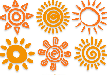 Hand Drawn Sun Vectors - vector #358153 gratis