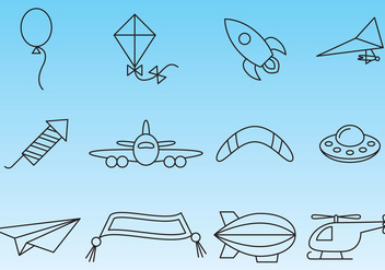 Flying Things Icon Vectors - vector gratuit #358173